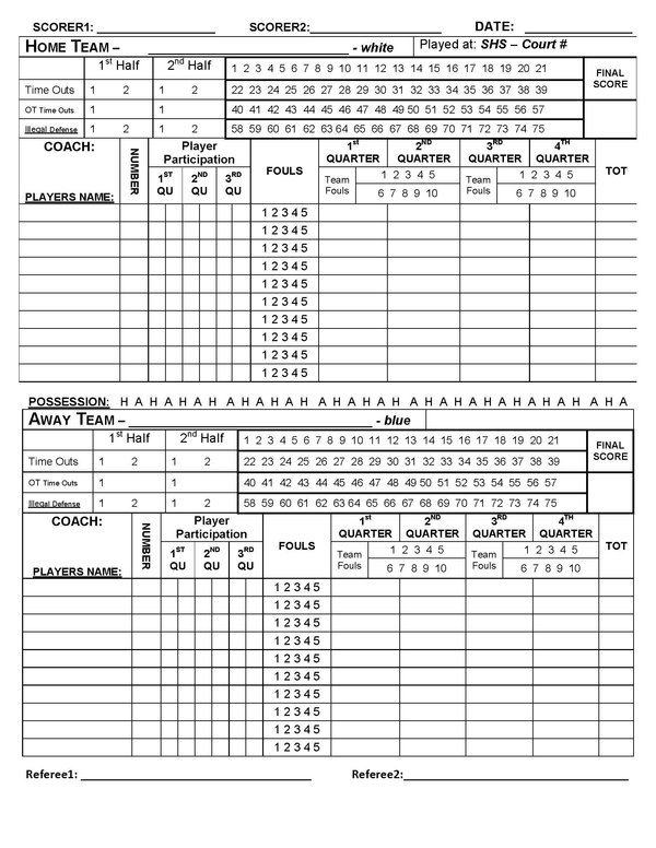 Printable Score Basketball Stat Sheet