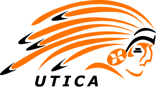 Utica high school mascot image - a chieftain in full headdress
