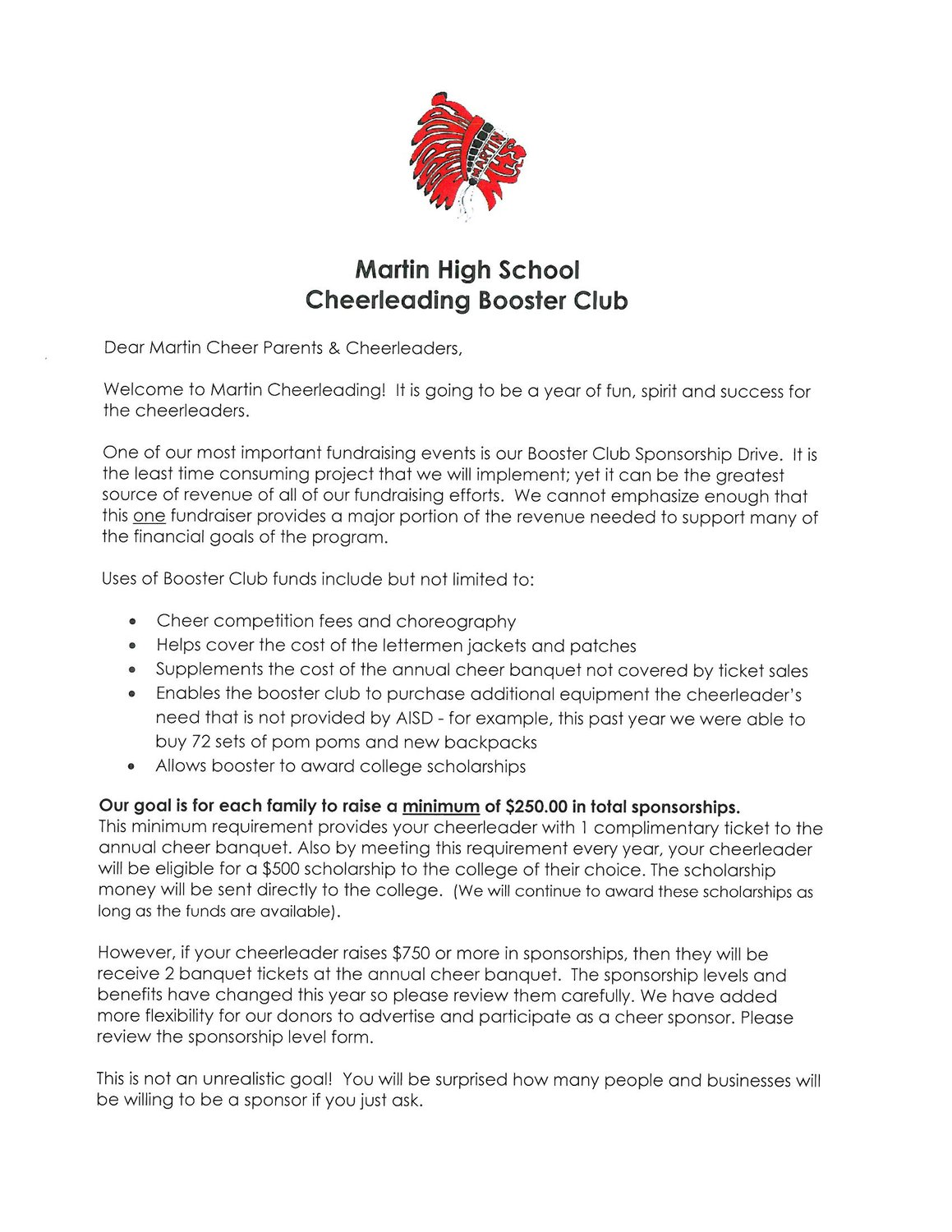 booster club With booster club sponsorship letters