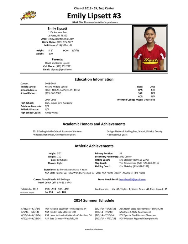 Doc 12751650 profile sheet template best photos of for Softball brochure templates