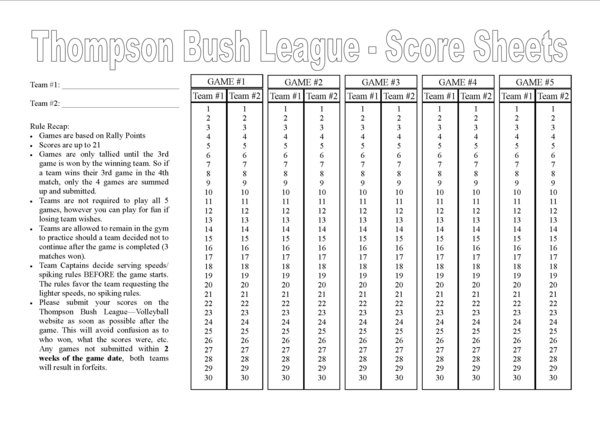 Volleyball Score Sheet Pdf