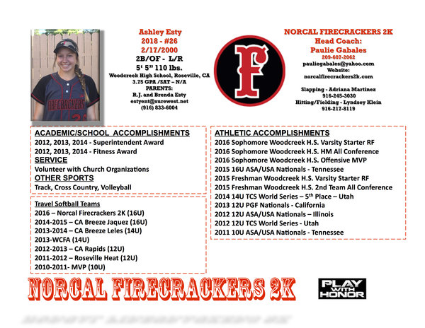 Image result for softball player profile sample